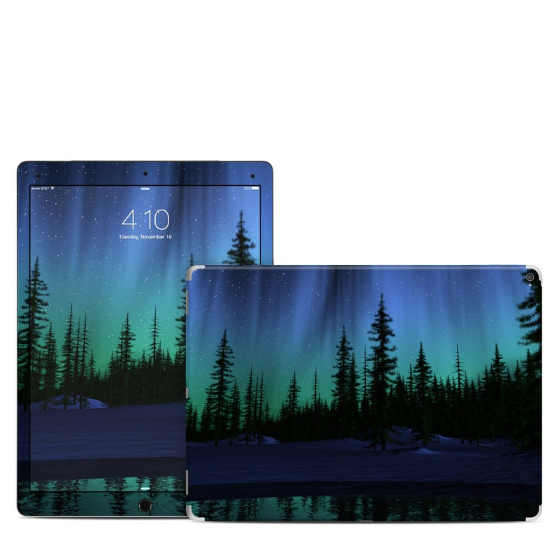 iPad Pro 12.9-inch 1st Gen Skin design of Aurora, Nature, Sky, shortleaf black spruce, Natural landscape, Tree, Wilderness, Natural environment, Biome, Spruce-fir forest with blue, purple, green, black colors