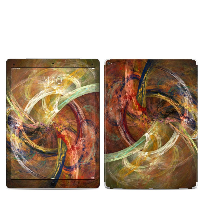 iPad Pro 12.9-inch 1st Gen Skin design of Fractal art, Art, Painting, Visual arts, Modern art, Graphics, Artwork, Stock photography, Circle, Space with brown, red, yellow, orange, green colors
