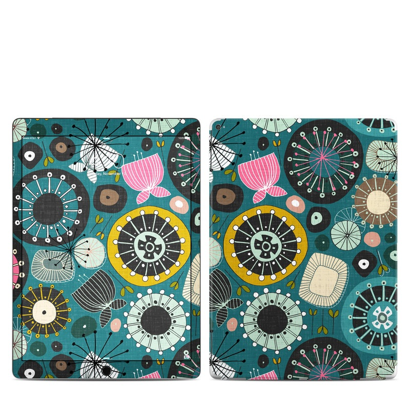 iPad Pro 12.9-inch 1st Gen Skin design of Pattern, Turquoise, Design, Textile, Visual arts, Circle, Motif, Art, Floral design with green, black, yellow, blue, pink colors