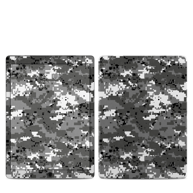 iPad Pro 12.9-inch 1st Gen Skin design of Military camouflage, Pattern, Camouflage, Design, Uniform, Metal, Black-and-white with black, gray colors