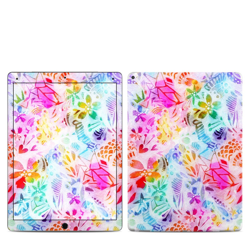 iPad Pro 12.9-inch 1st Gen Skin design of Pattern, Design, Textile, Art with gray, pink, purple, blue colors