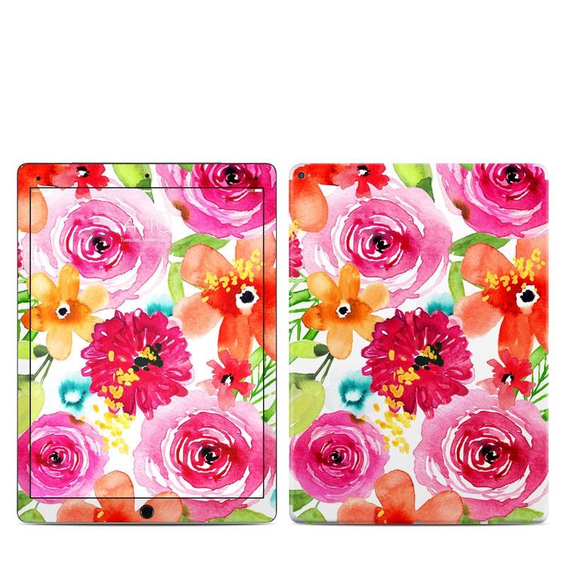 iPad Pro 12.9-inch 1st Gen Skin design of Flower, Cut flowers, Floral design, Plant, Pink, Bouquet, Petal, Flower Arranging, Artificial flower, Clip art with pink, red, green, orange, yellow, blue, white colors