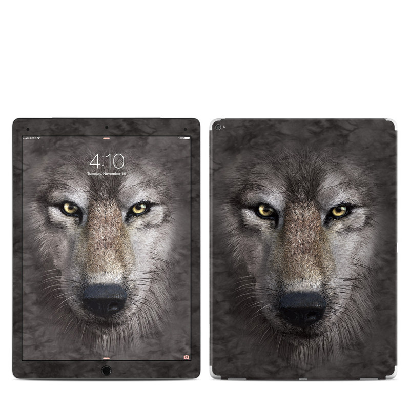iPad Pro 1st Gen 12.9-inch Skin design of Vertebrate, Mammal, Wolf, Canidae, Wildlife, Snout, Czechoslovakian wolfdog, Eye, Wolfdog, Canis with black, gray, red, green colors