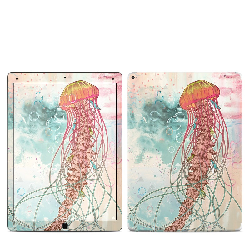 iPad Pro 12.9-inch 1st Gen Skin design of Jellyfish, Illustration, Water, Cnidaria, Marine invertebrates, Organism, Portuguese man o' war, Art, Nepenthes, Invertebrate with gray, pink, yellow, red, green colors