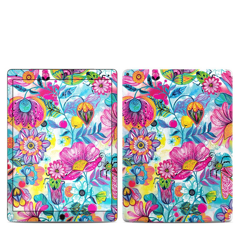 iPad Pro 1st Gen 12.9-inch Skin design of Pattern, Floral design, Textile, Design, Flower, Wildflower, Visual arts, Plant, Wrapping paper with blue, pink, purple, green, yellow, orange, white colors