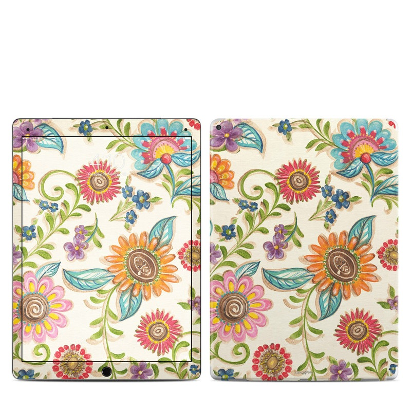 iPad Pro 12.9-inch 1st Gen Skin design of Pattern, Floral design, Flower, Botany, Design, Visual arts, Textile, Plant, Wildflower, Pedicel with gray, green, pink, yellow, red, blue colors