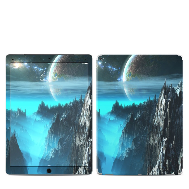 iPad Pro 1st Gen 12.9-inch Skin design of Space, Astronomical object, Sky, Earth, Atmosphere, Planet, World, Outer space, Cg artwork, Screenshot with black, blue, gray, yellow, orange colors