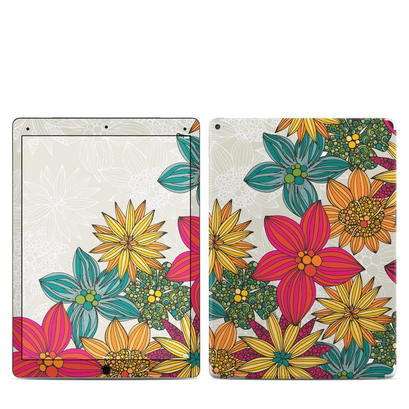 iPad Pro 12.9-inch 1st Gen Skin design of Floral design, Pattern, Flower, Wildflower, Plant, Botany, Leaf, Design, Textile, Visual arts with blue, yellow, red, green, orange, gray colors