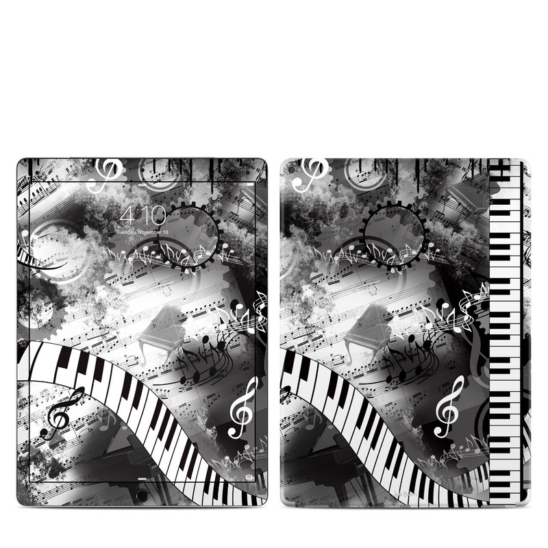 iPad Pro 12.9-inch 1st Gen Skin design of Music, Monochrome, Black-and-white, Illustration, Graphic design, Musical instrument, Technology, Musical keyboard, Piano, Electronic instrument with black, gray, white colors