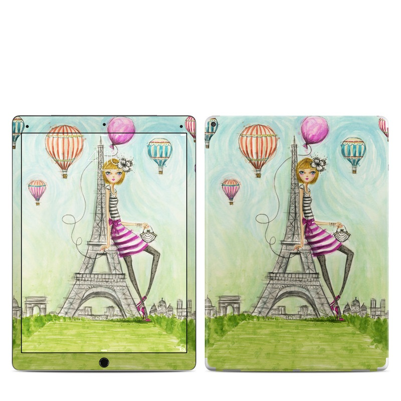 iPad Pro 12.9-inch 1st Gen Skin design of Hot air balloon, Giraffe, Cartoon, Balloon, Giraffidae, Magenta, Hot air ballooning, Illustration, Art, Child art with blue, green, purple, pink, orange, gray, black, white, yellow colors