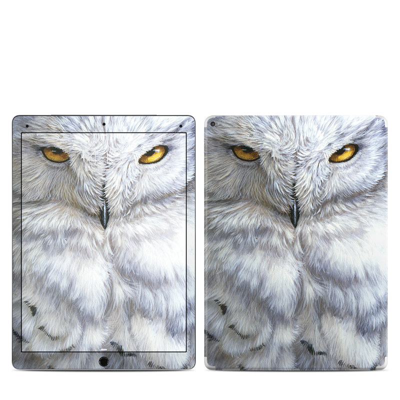 iPad Pro 1st Gen 12.9-inch Skin design of Owl, Bird, Bird of prey, Snowy owl, great grey owl, Close-up, Eye, Snout, Wildlife, Eastern Screech owl with gray, white, black, blue, purple colors