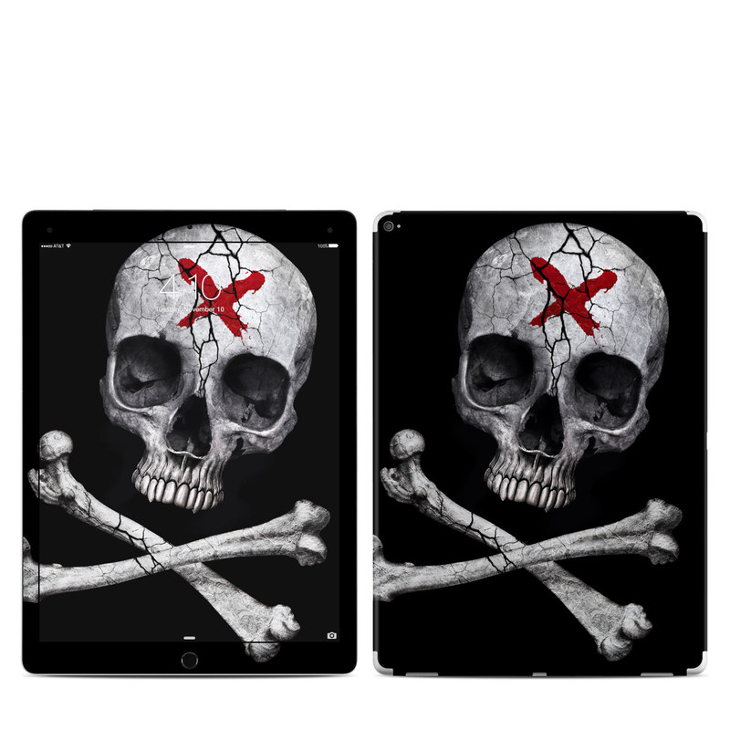 iPad Pro 1st Gen 12.9-inch Skin design of Bone, Skull, Skeleton, Jaw, Illustration, Animation, Fictional character, Still life photography with black, white, gray colors