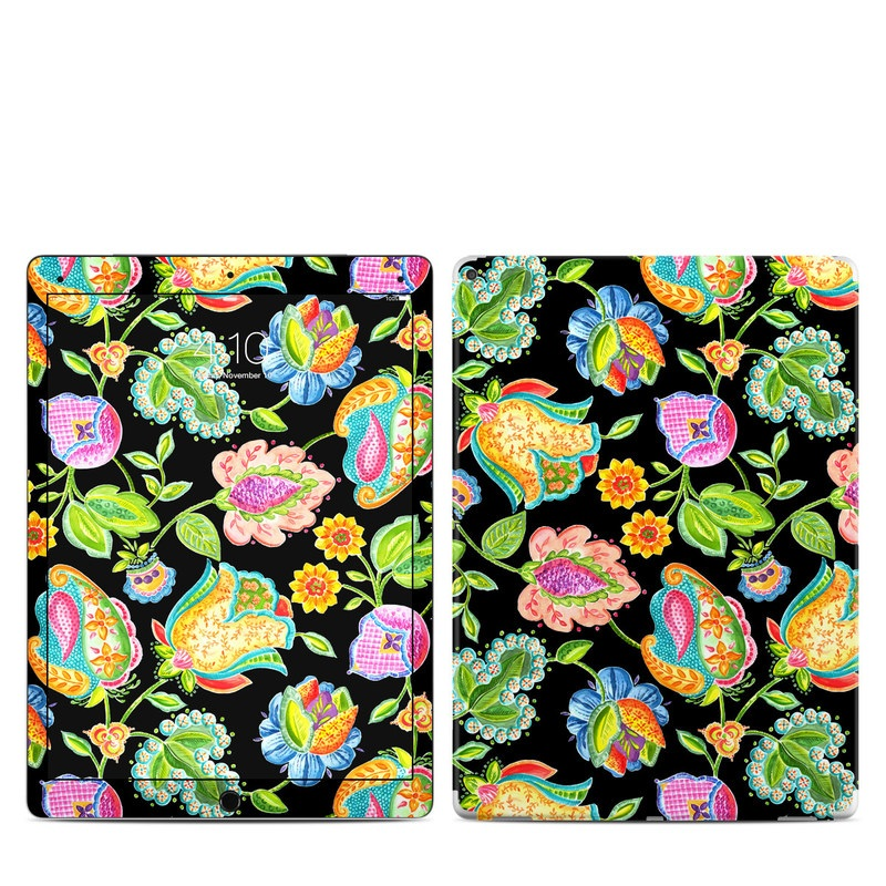 iPad Pro 12.9-inch 1st Gen Skin design of Pattern, Visual arts, Flower, Design, Plant, Floral design, Textile, Motif, Wildflower, Art with black, gray, green, orange, blue, pink colors