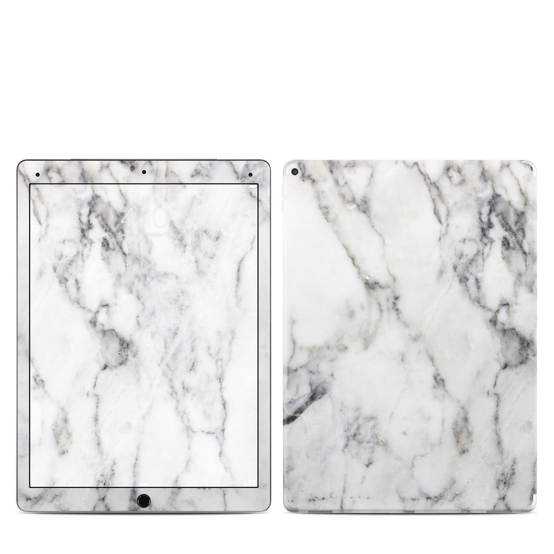 iPad Pro 12.9-inch 1st Gen Skin design of White, Geological phenomenon, Marble, Black-and-white, Freezing with white, black, gray colors