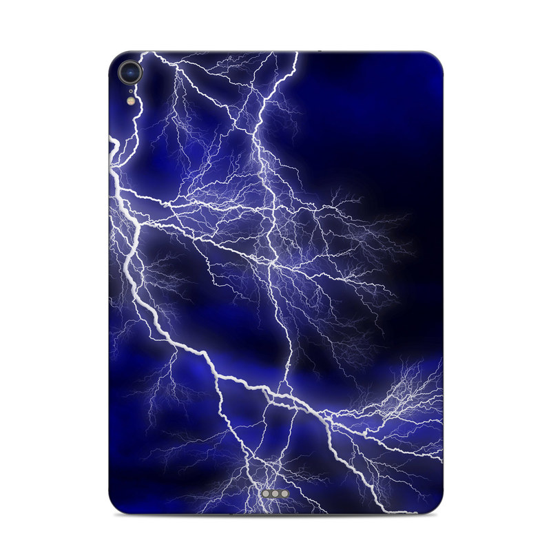 iPad Pro 3rd Gen 11-inch Skin design of Thunder, Lightning, Thunderstorm, Sky, Nature, Electric blue, Atmosphere, Daytime, Blue, Atmospheric phenomenon with blue, black, white colors