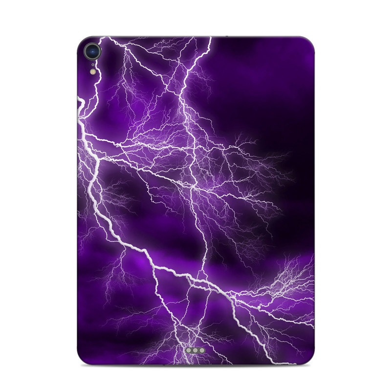 iPad Pro 3rd Gen 11-inch Skin design of Thunder, Lightning, Thunderstorm, Sky, Nature, Purple, Violet, Atmosphere, Storm, Electric blue with purple, black, white colors