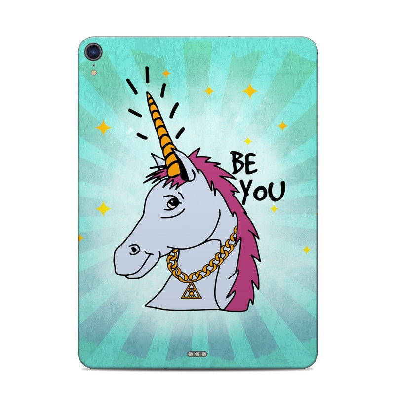 iPad Pro 3rd Gen 11-inch Skin design of Illustration, Unicorn, Cartoon, Fictional character, Graphic design, Art, Mythical creature, Livestock, Giraffe, Graphics with blue, white, pink, yellow colors