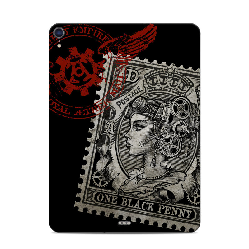 iPad Pro 3rd Gen 11-inch Skin design of Font, Postage stamp, Illustration, Drawing, Art with black, gray, red colors