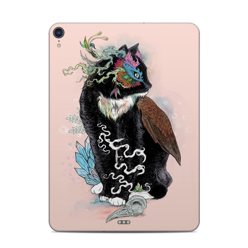 iPad Pro 3rd Gen 11-inch Skin design of Illustration, Owl, Art, Graphic design, Cat, Tail with pink, black, brown, red, green colors