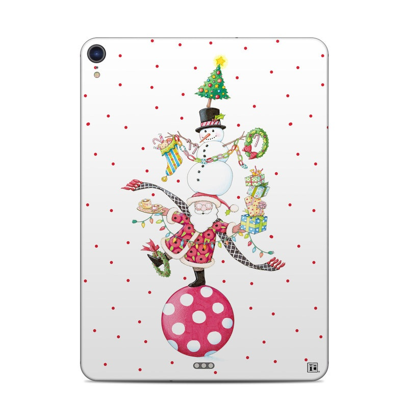 iPad Pro 3rd Gen 11-inch Skin design of Clip art, Holiday ornament, Fictional character with white, red, green, black, blue colors