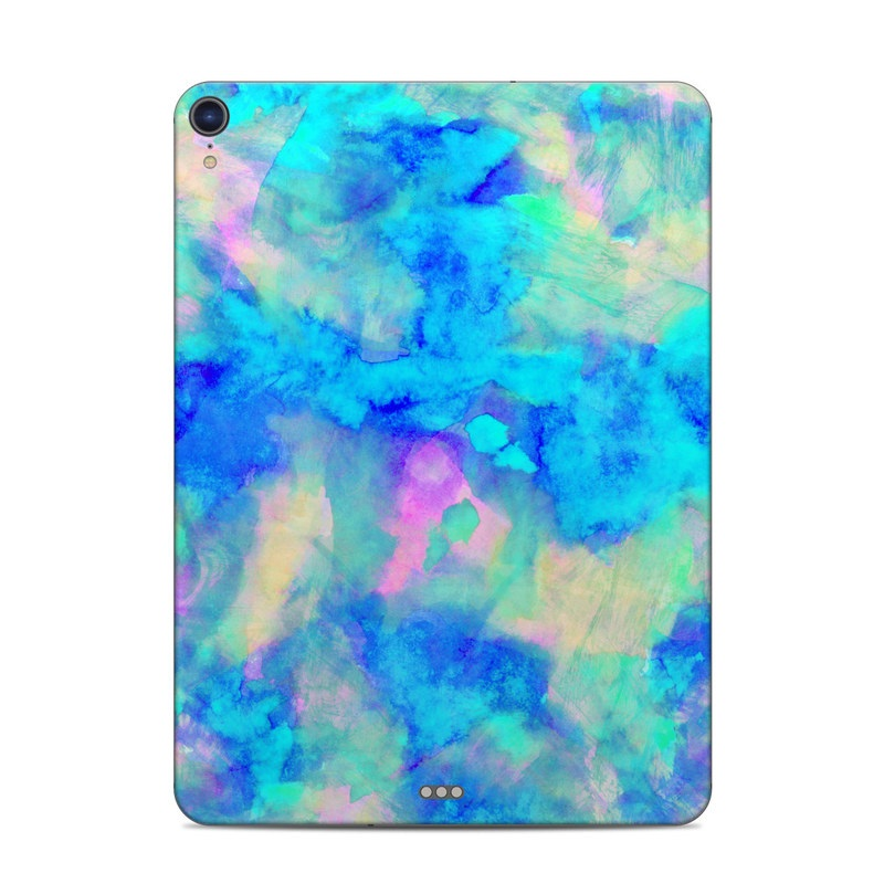 iPad Pro 11-inch Skin design of Blue, Turquoise, Aqua, Pattern, Dye, Design, Sky, Electric blue, Art, Watercolor paint with blue, purple colors