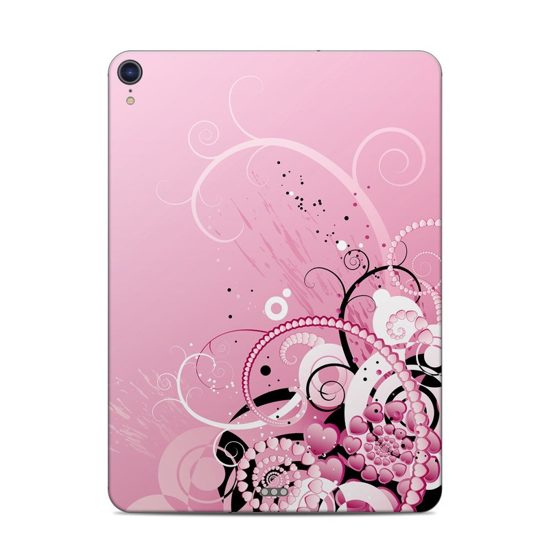 iPad Pro 11-inch Skin design of Pink, Floral design, Graphic design, Text, Design, Flower Arranging, Pattern, Illustration, Flower, Floristry with pink, gray, black, white, purple, red colors