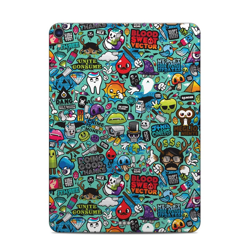 iPad Pro 11-inch Skin design of Cartoon, Art, Pattern, Design, Illustration, Visual arts, Doodle, Psychedelic art with black, blue, gray, red, green colors