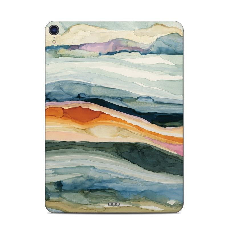iPad Pro 3rd Gen 11-inch Skin design of Watercolor paint, Painting, Sky, Wave, Geology, Landscape, Pattern, Acrylic paint, Cloud, Paint with blue, purple, orange, yellow, red, green, brown colors