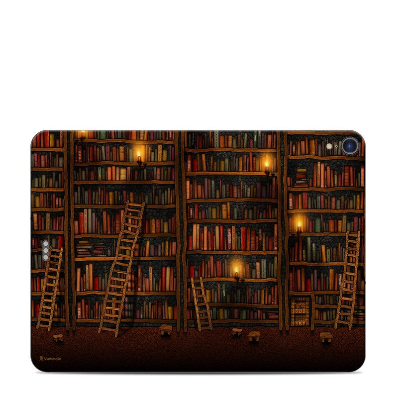 iPad Pro 11-inch Skin design of Shelving, Library, Bookcase, Shelf, Furniture, Book, Building, Publication, Room, Darkness with black, red colors