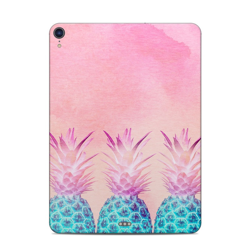 iPad Pro 3rd Gen 11-inch Skin design of Pineapple, Ananas, Pink, Fruit, Plant, Bromeliaceae, Pattern, Poales with pink, blue, orange colors