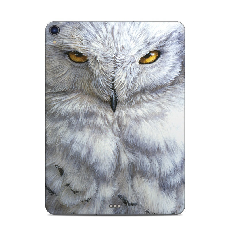 iPad Pro 3rd Gen 11-inch Skin design of Owl, Bird, Bird of prey, Snowy owl, great grey owl, Close-up, Eye, Snout, Wildlife, Eastern Screech owl with gray, white, black, blue, purple colors