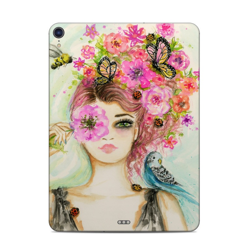 iPad Pro 3rd Gen 11-inch Skin design of Face, Watercolor paint, Illustration, Pink, Head, Fashion illustration, Beauty, Art, Cheek, Painting with white, pink, green, blue, yellow, red, brown colors