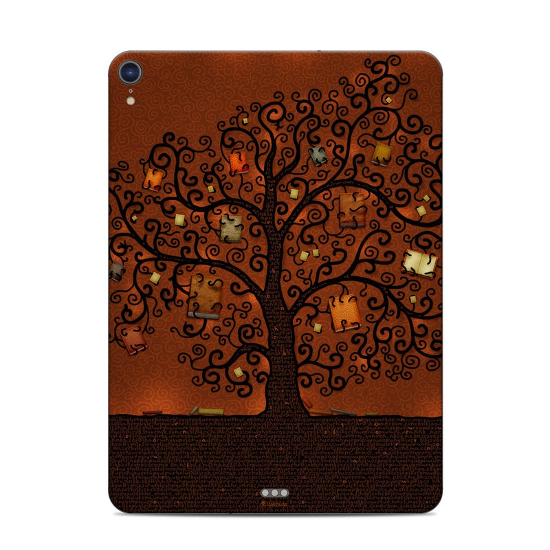 iPad Pro 3rd Gen 11-inch Skin design of Tree, Brown, Leaf, Plant, Woody plant, Branch, Visual arts, Font, Pattern, Art with black colors