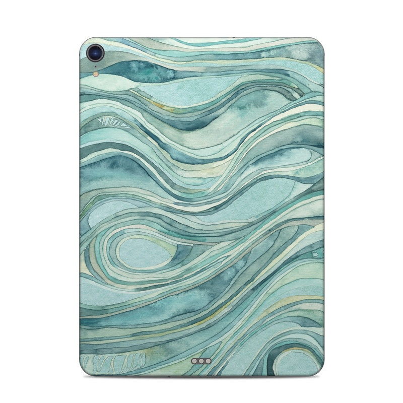 iPad Pro 3rd Gen 11-inch Skin design of Aqua, Blue, Pattern, Turquoise, Teal, Water, Design, Line, Wave, Textile with gray, blue colors