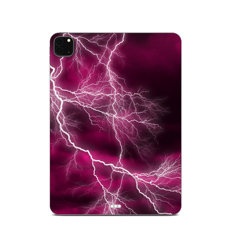 iPad Pro 11-inch Skin design of Thunder, Lightning, Thunderstorm, Sky, Nature, Purple, Red, Atmosphere, Violet, Pink with pink, black, white colors