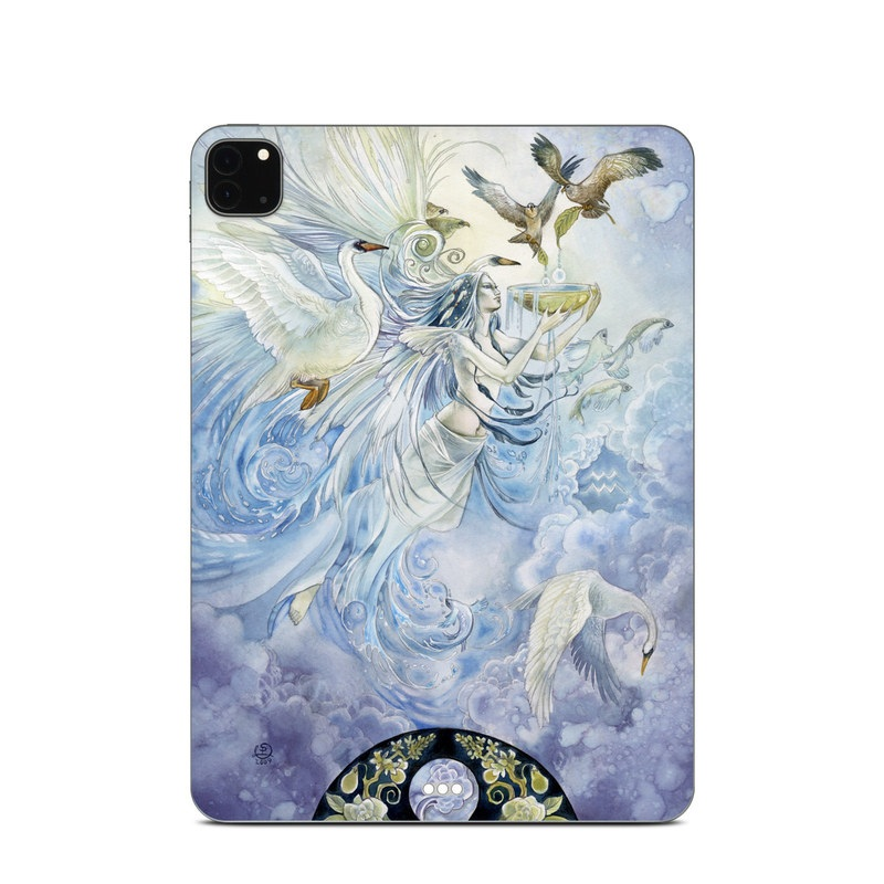 iPad Pro 11-inch Skin design of Illustration, Fictional character, Mythology, Angel, Cg artwork, Art, Painting, Supernatural creature, Watercolor paint, Mythical creature with blue, white, brown, purple, yellow colors