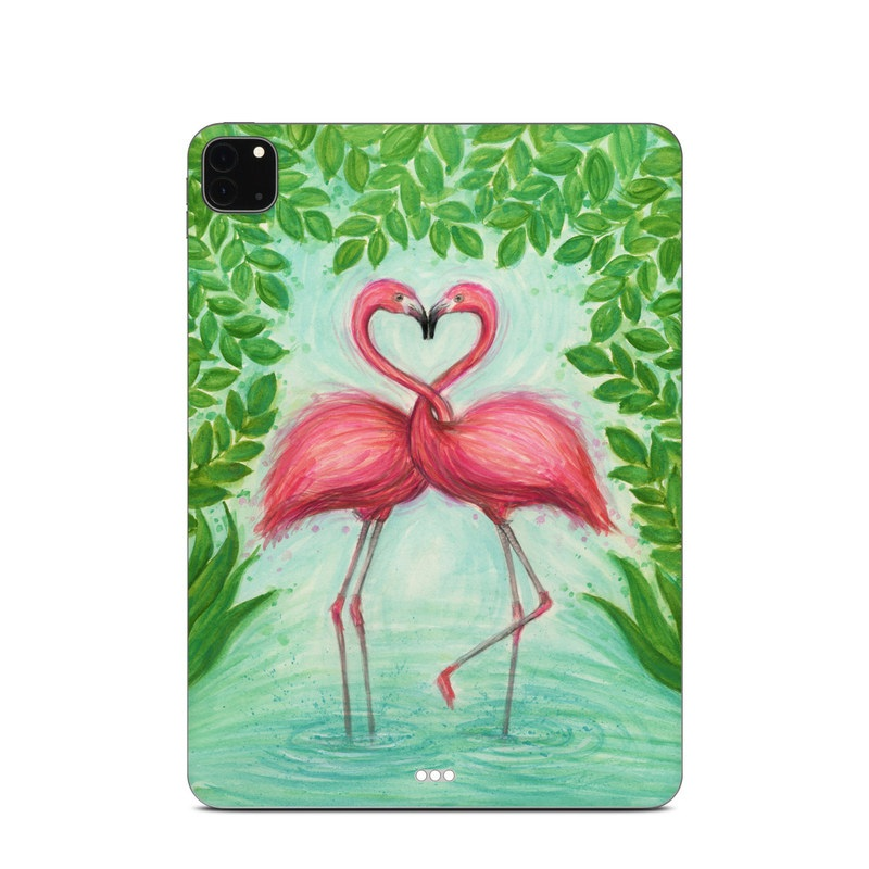 iPad Pro 11-inch Skin design of Flamingo, Greater flamingo, Bird, Water bird, Pink, Illustration, Watercolor paint, Organism, Drawing, Stork with pink, blue, green colors