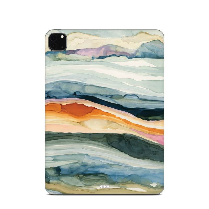 iPad Pro 11-inch Skin design of Watercolor paint, Painting, Sky, Wave, Geology, Landscape, Pattern, Acrylic paint, Cloud, Paint with blue, purple, orange, yellow, red, green, brown colors