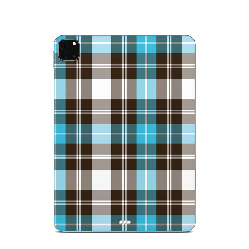 iPad Pro 11-inch Skin design of Plaid, Pattern, Tartan, Turquoise, Textile, Design, Brown, Line, Tints and shades with gray, black, blue, white colors