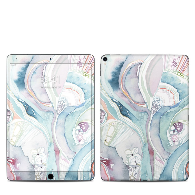 iPad Pro 2nd Gen 10.5-inch Skin design of Watercolor paint, Plant, Art, Illustration, Flower with blue, purple, pink, red, orange colors