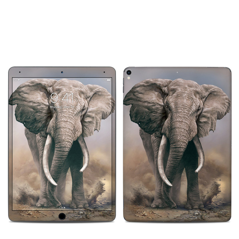 iPad Pro 10.5-inch Skin design of Elephants and Mammoths, Terrestrial animal, Indian elephant, African elephant, Wildlife, Tusk, Snout, Organism, Working animal, Illustration with brown, gray, white colors