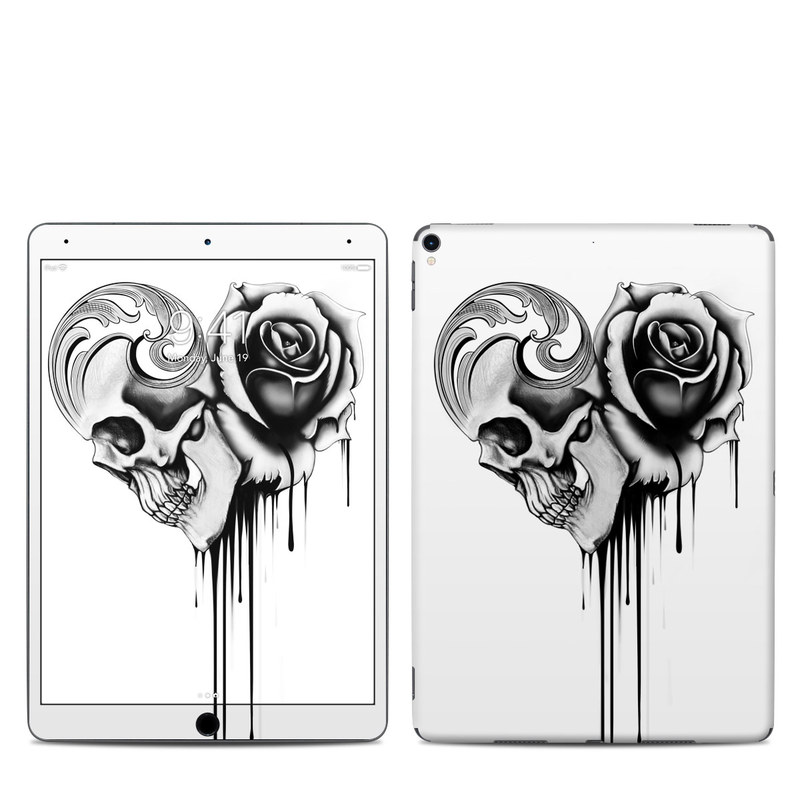 iPad Pro 2nd Gen 10.5-inch Skin design of Black-and-white, Illustration, Monochrome, Rose, Plant, Style, Metal, Drawing with white, black, gray colors
