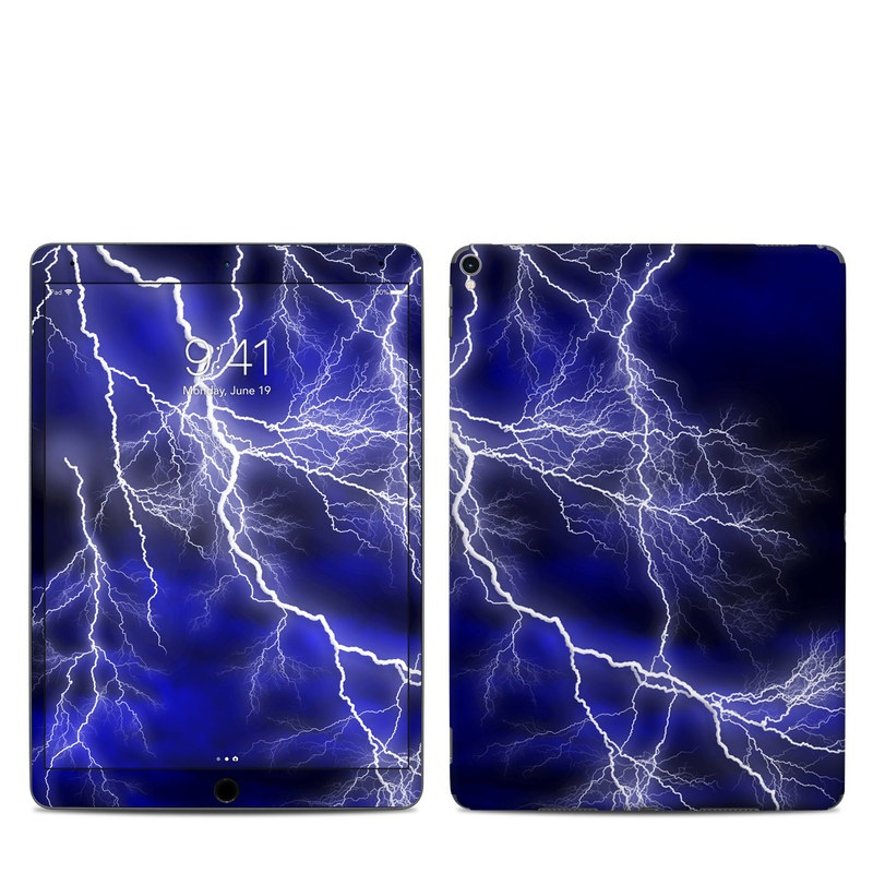 iPad Pro 2nd Gen 10.5-inch Skin design of Thunder, Lightning, Thunderstorm, Sky, Nature, Electric blue, Atmosphere, Daytime, Blue, Atmospheric phenomenon with blue, black, white colors