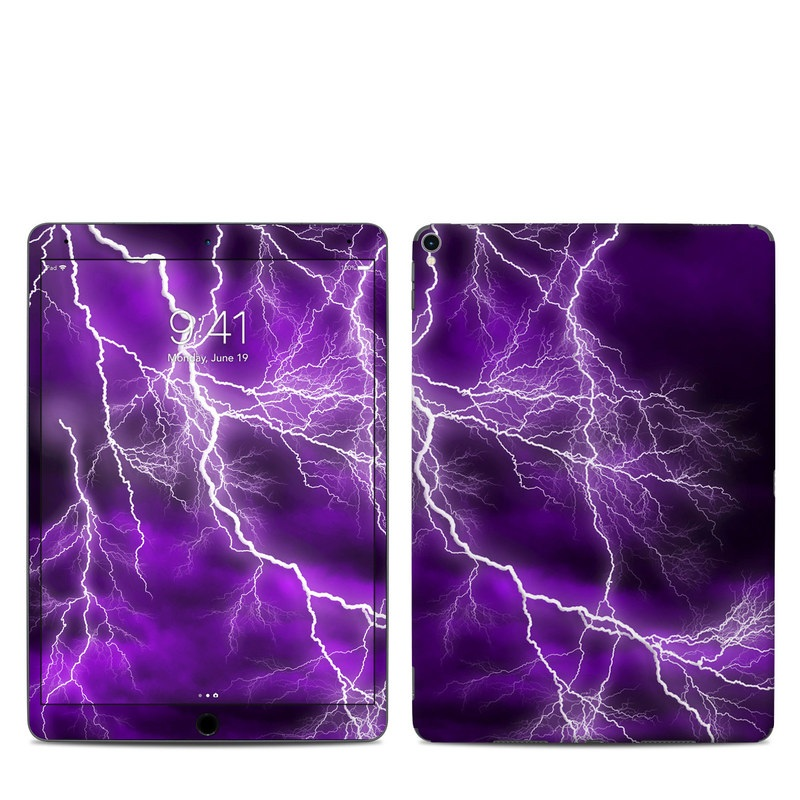 iPad Pro 10.5-inch Skin design of Thunder, Lightning, Thunderstorm, Sky, Nature, Purple, Violet, Atmosphere, Storm, Electric blue with purple, black, white colors