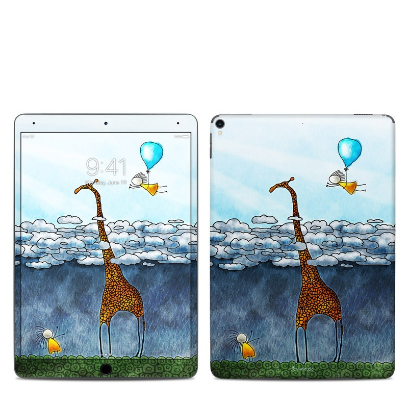 iPad Pro 2nd Gen 10.5-inch Skin design of Giraffe, Sky, Tree, Water, Branch, Giraffidae, Illustration, Cloud, Grassland, Bird with blue, gray, yellow, green colors