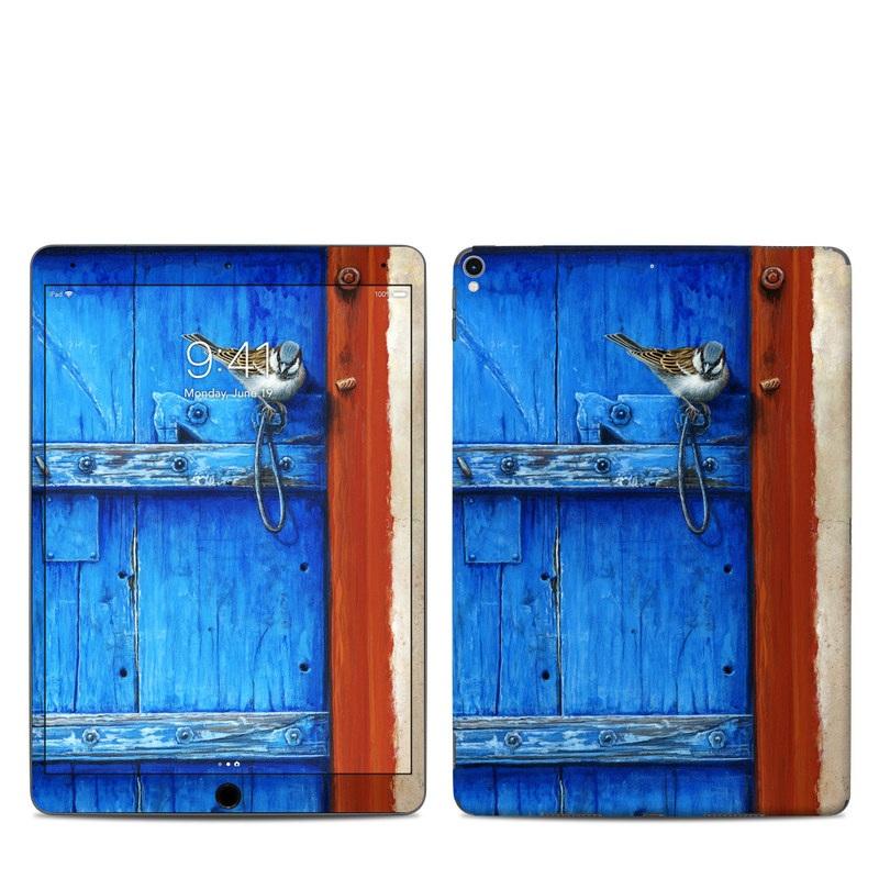 iPad Pro 10.5-inch Skin design of Blue, Wood, Door handle, Door, Wall, Door knocker, Electric blue, Still life photography, Window, Handle with red, blue, brown colors