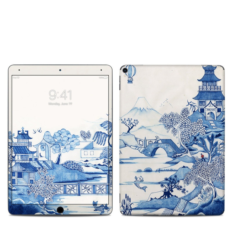iPad Pro 2nd Gen 10.5-inch Skin design of Blue, Blue and white porcelain, Winter, Christmas eve, Illustration, Snow, World, Art with blue, white colors