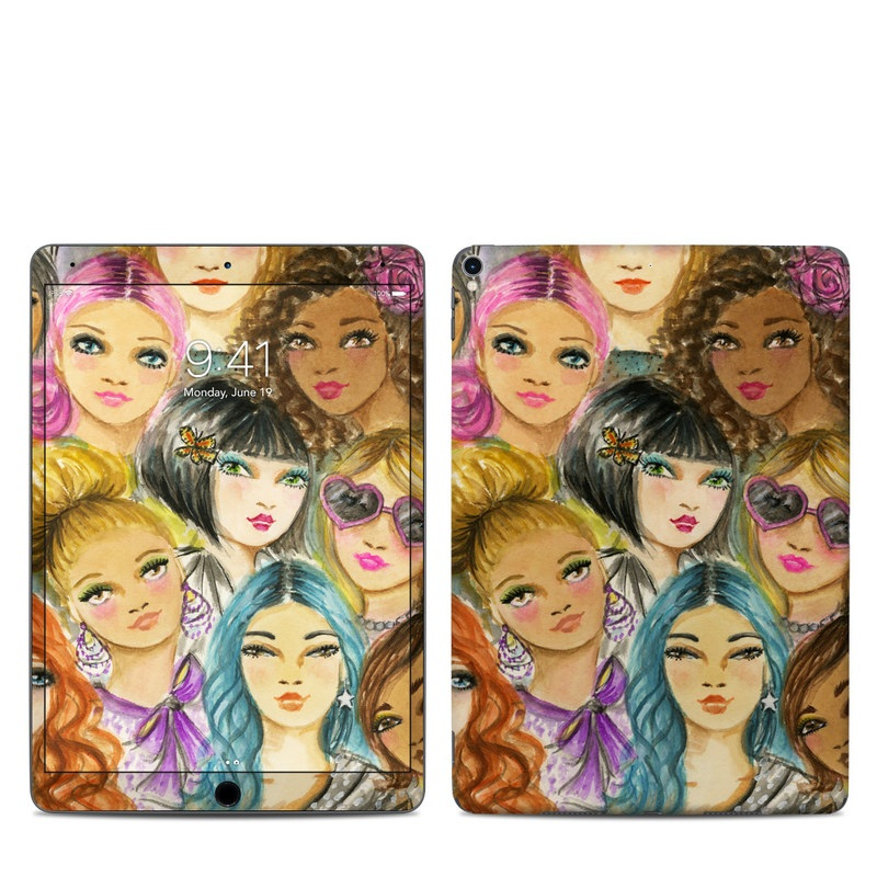 iPad Pro 2nd Gen 10.5-inch Skin design of Face, Hair, Head, Art, Hair coloring, Cheek, Illustration, Human, Watercolor paint, Brown hair with white, black, brown, yellow, purple, blue, pink colors