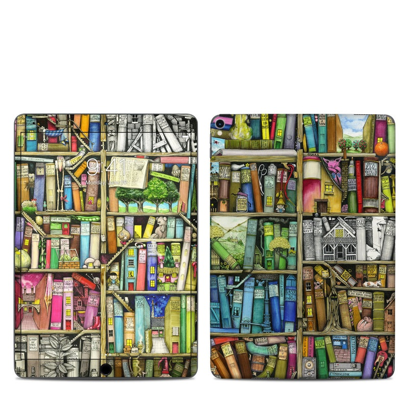 iPad Pro 2nd Gen 10.5-inch Skin design of Collection, Art, Visual arts, Bookselling, Shelving, Painting, Building, Shelf, Publication, Modern art with brown, green, blue, red, pink colors