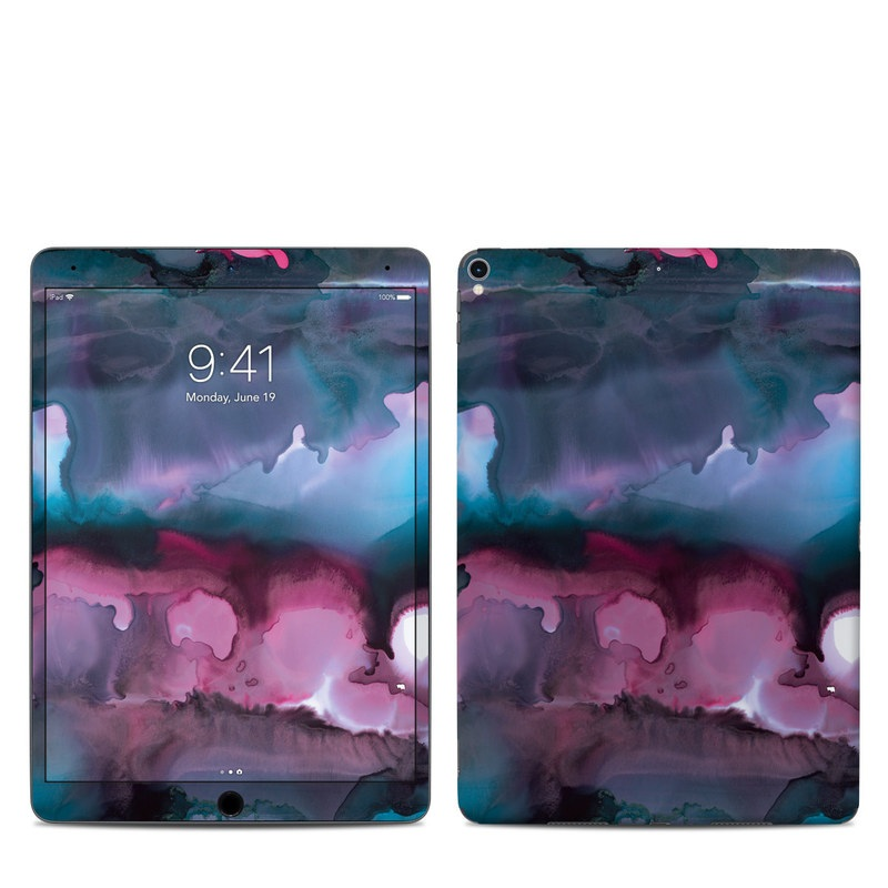 iPad Pro 2nd Gen 10.5-inch Skin design of Watercolor paint, Purple, Painting, Ice, Magenta, Sky, Art, Cloud, Paint, Modern art with black, white, purple, blue, red colors
